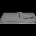 Plaid tissé en coton gris borie 230x250cm-BELCODENE