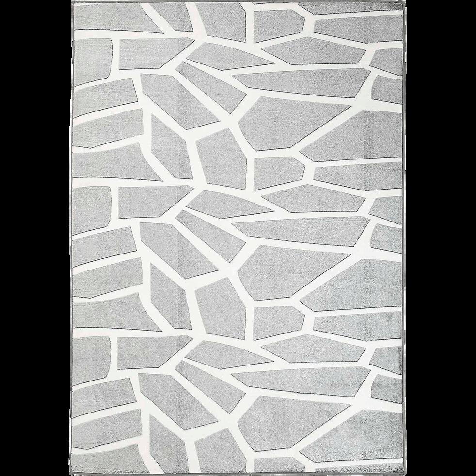 Tapis effet fourrure gris et blanc 160x230cm-ZEBU