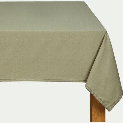 Nappe en coton vert olivier 145x300cm-VENASQUE