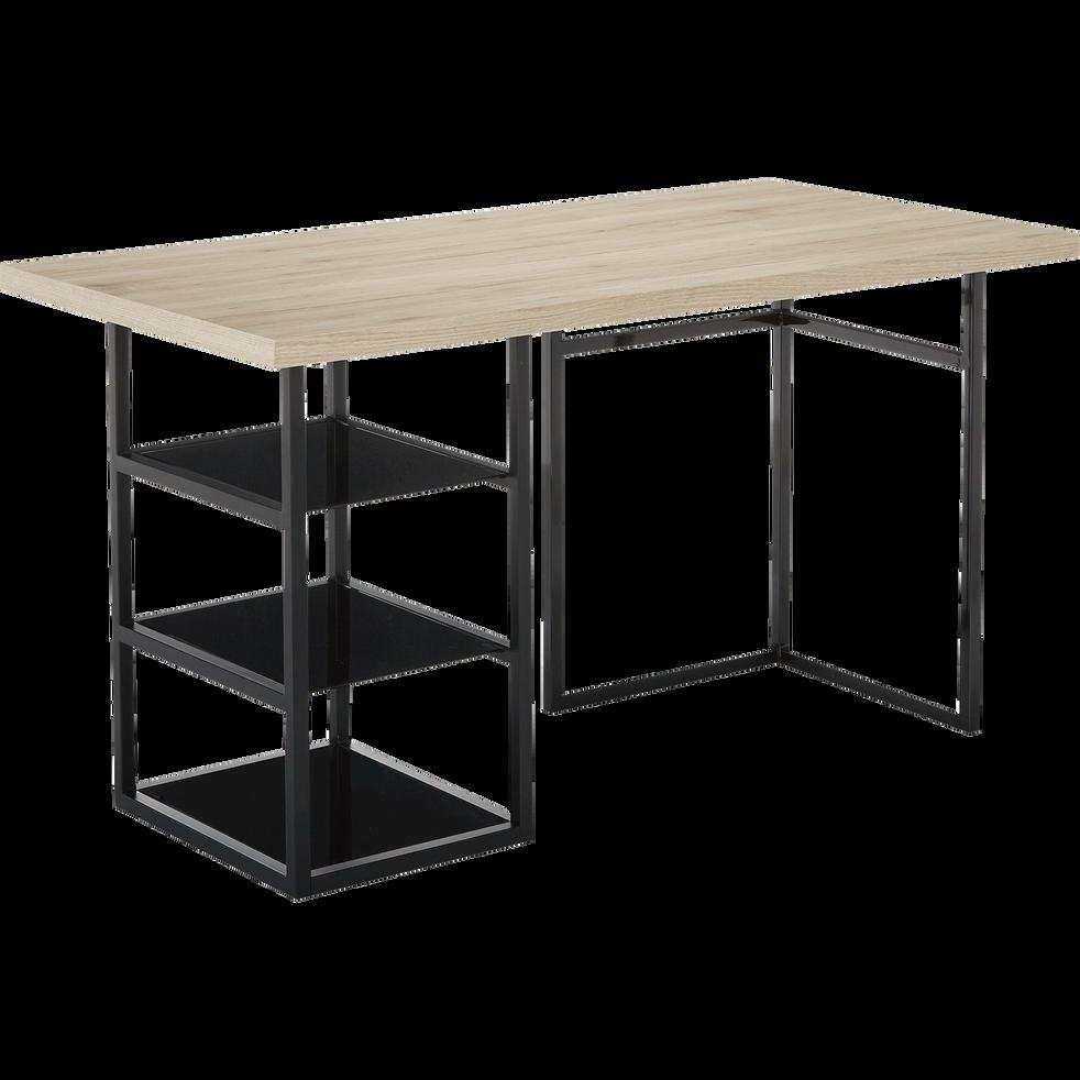 tr teau caisson de bureau noir avec 3 tablettes en verre armada bureaux alinea. Black Bedroom Furniture Sets. Home Design Ideas