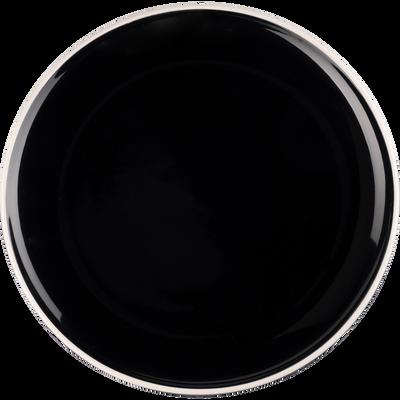 Assiette plate en faïence noire D27cm-CAMELIA