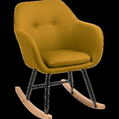 Fauteuil à bascule en tissu jaune moutarde-EMILIA