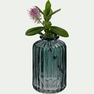 Vase sillonné en verre - gris H10cm-Cios