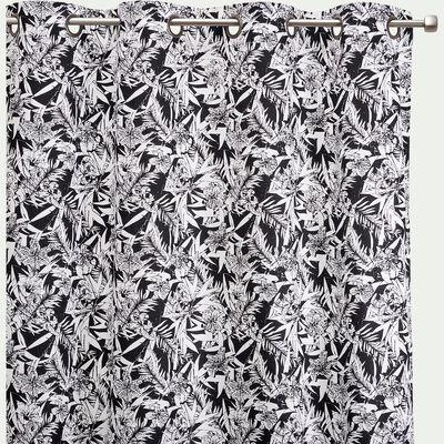 Rideau en coton imprimé noir et blanc 140x250cm-ORCHIDEE