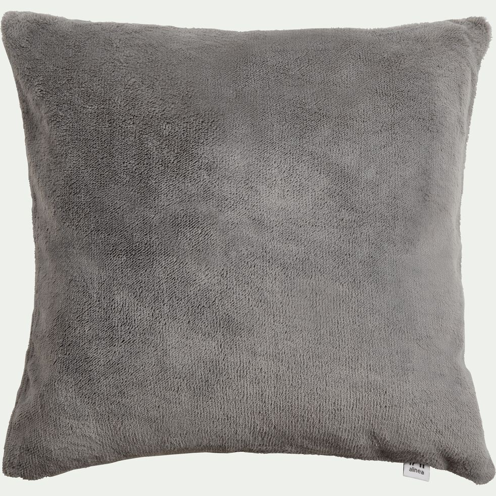 Housse de coussin effet polaire en polyester - gris restanque 40x40cm-ROBIN