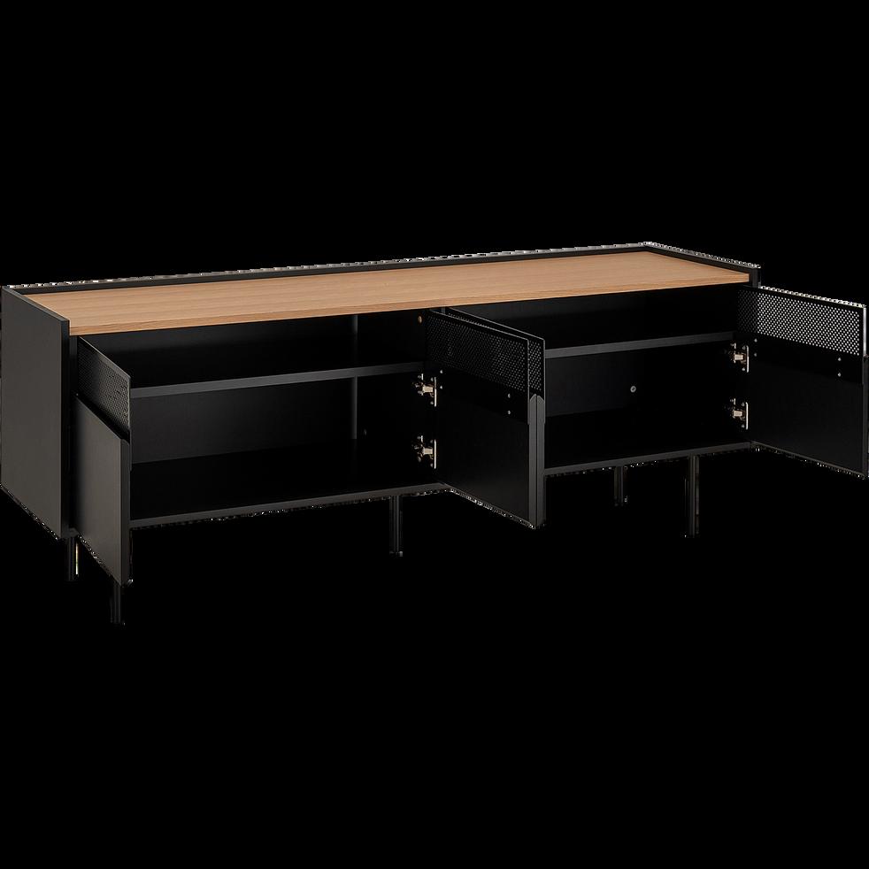 Meuble TV plaqué chêne et métal noir L160cm-CIPRES