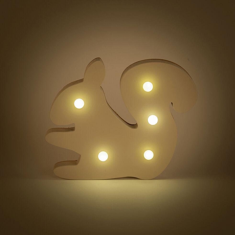 Déco lumineuse écureuil en bois 5 leds non électrifié - beige alpilles-Lusour