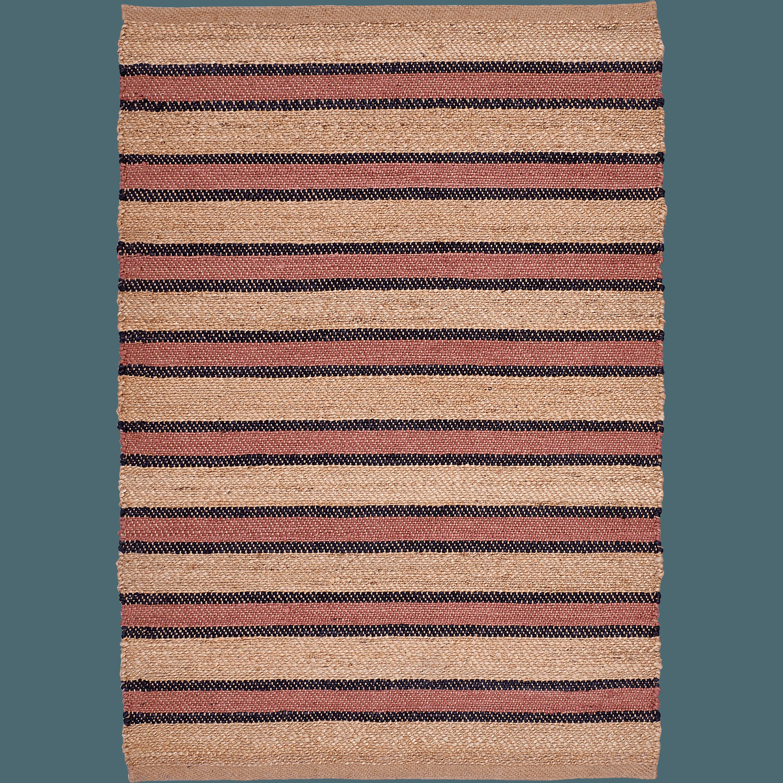 Elegant Tapis Rectangulaire En Jute Rayé Naturel Et Ocre 120x170 Cm CASA