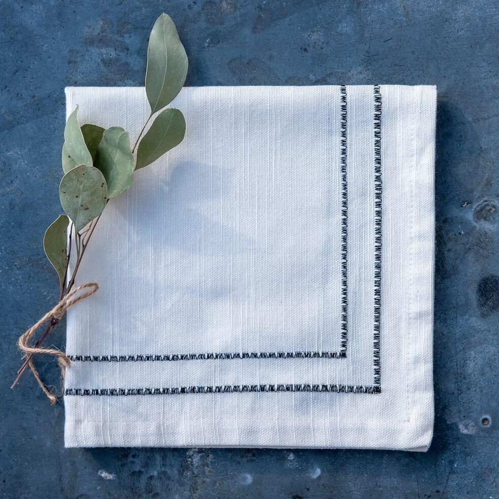 Serviette de table en coton blanc et noir 41x41cm-GALLIA