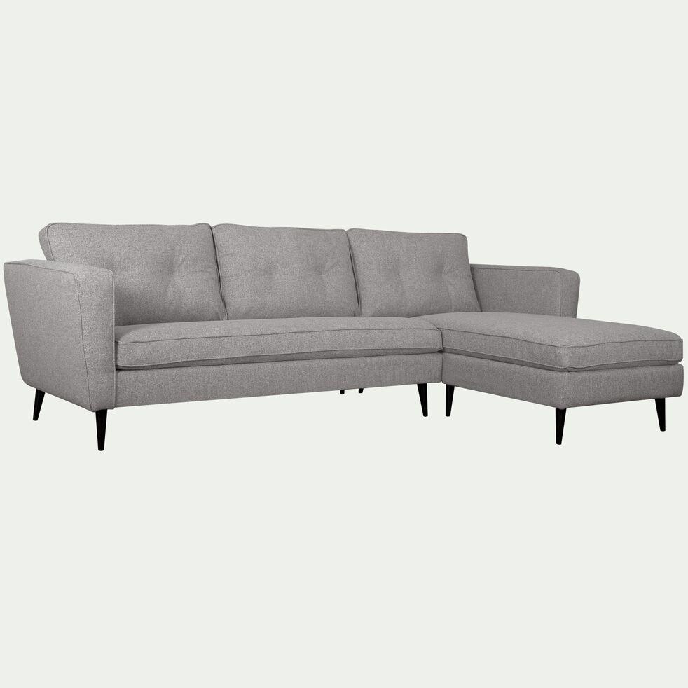 Canapé 4 places d'angle droit fixe en tissu - gris borie-BARTHOLE