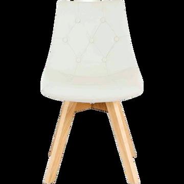 Chaise capitonnée blanche avec piètement en bois-JOY