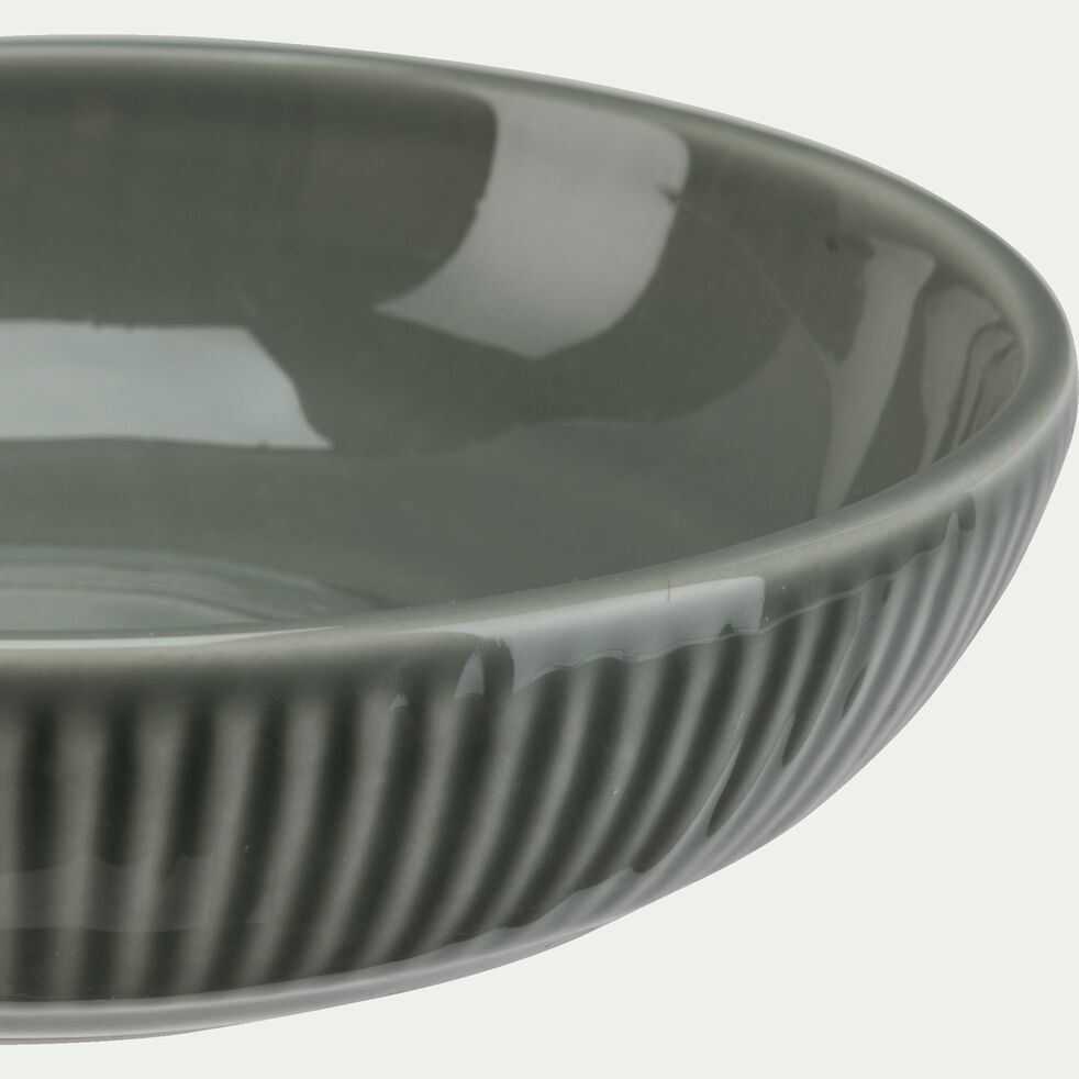 Assiette creuse en faïence D19cm - vert olivier-MORA