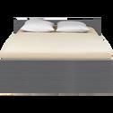 Lit 2 places avec tête de lit & tiroirs Gris foncé - 160x200 cm-BROOKLYN