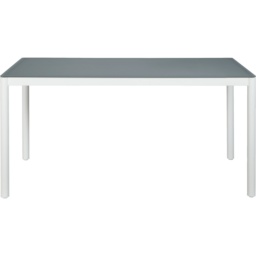 MAGUY - Table de jardin blanche en acier et en verre trempé (6 places)