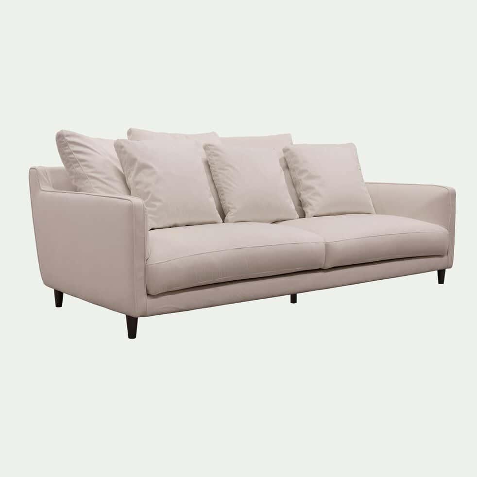 Canapé fixe 4 places en velours beige roucas - LENITA ...