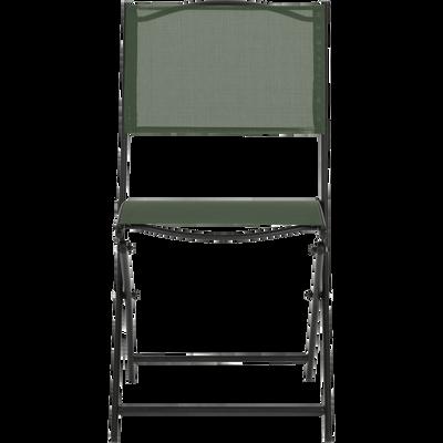 Chaise pliante acier et toile plastifiée vert cèdre-LIMONE