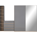 Commode module 4 tiroirs effet chêne - gris-NESTOR