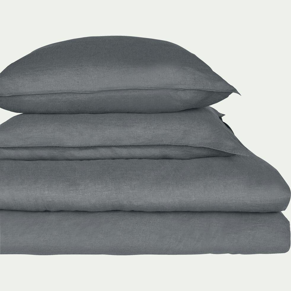 Drap housse en lin - gris restanque 160x200cm B28cm-VENCE