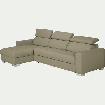 Canapé d'angle réversible fixe en tissu - taupe-Mauro