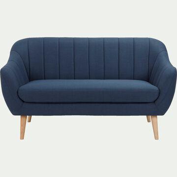 Canapé 2 places fixe en tissu - bleu foncé-SHELL