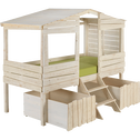 Lit cabane 1 place en pin massif blanc 90x200 cm-Woody wood