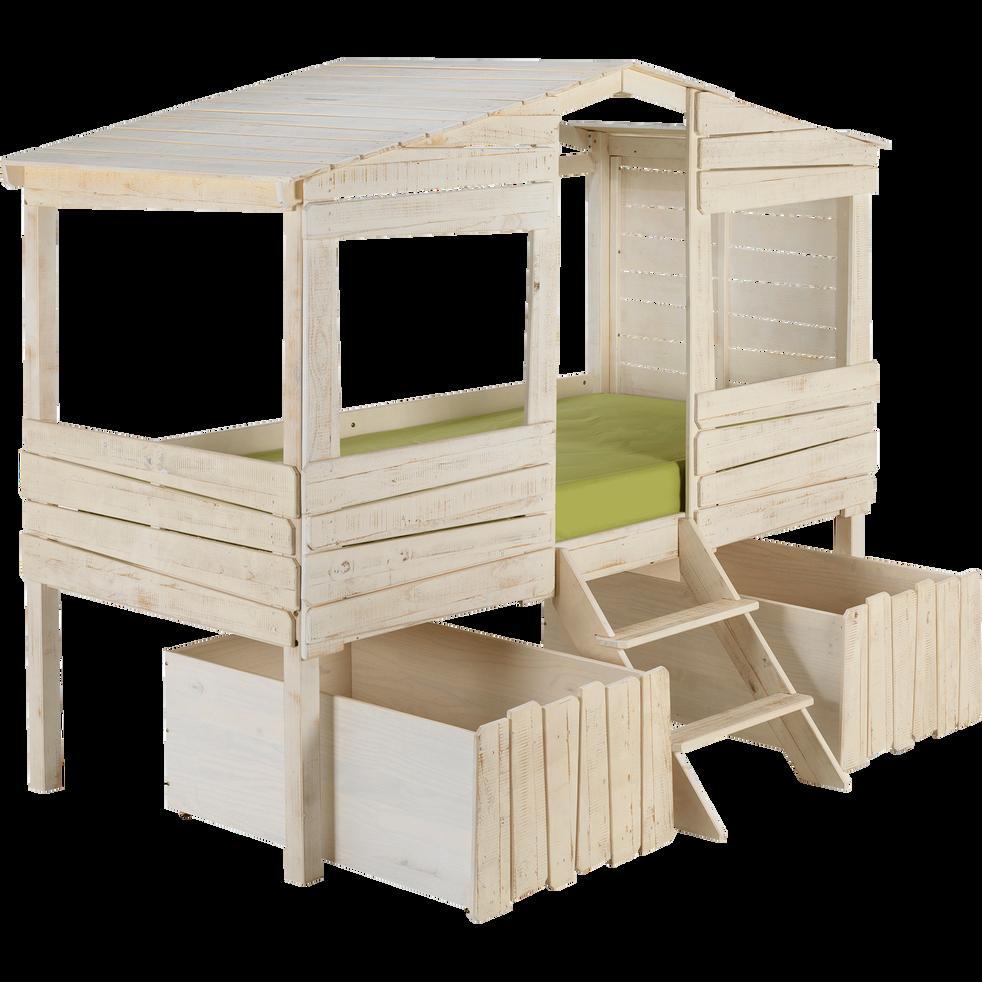 Lit cabane 1 place en pin massif blanc 90x200 cm-Woody wood