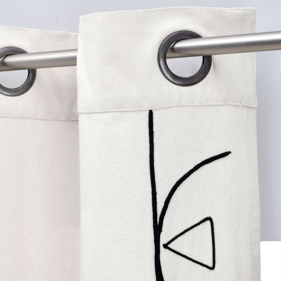 Rideau brodé en coton - blanc écru 140x250cm-EGYPTIAN