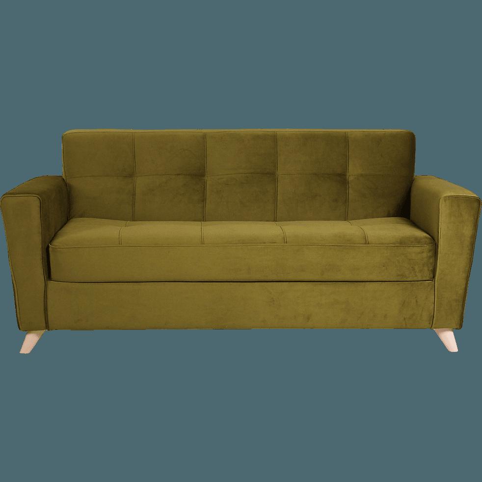 canap 3 places convertible en velours vert vicky canap s droits en tissu alinea. Black Bedroom Furniture Sets. Home Design Ideas