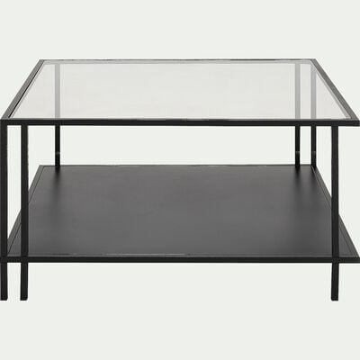 Table basse en verre et métal L80xl80xH42cm - noir-HENU