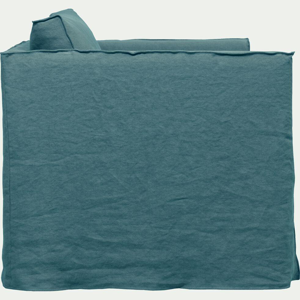 Canapé 1.5 places fixe en lin bleu calaluna-VENCE