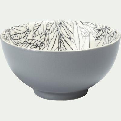 Coupelle en porcelaine motifs laurier - gris D11,5cm-AIX