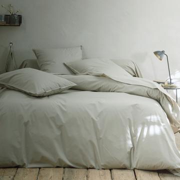Linge de lit en percale vert olivier-FLORE