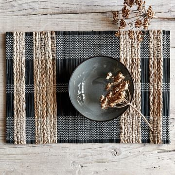 Set de table en paille et coton - noir et naturel 33x48cm-ALDA