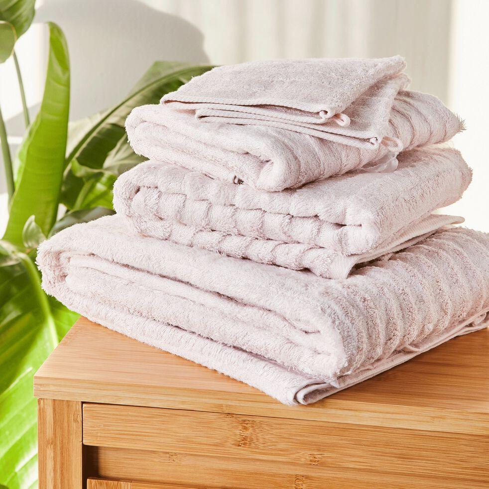 Serviette de toilette longues mèches en viscose et coton  - rose grège 50x100cm-AUBIN