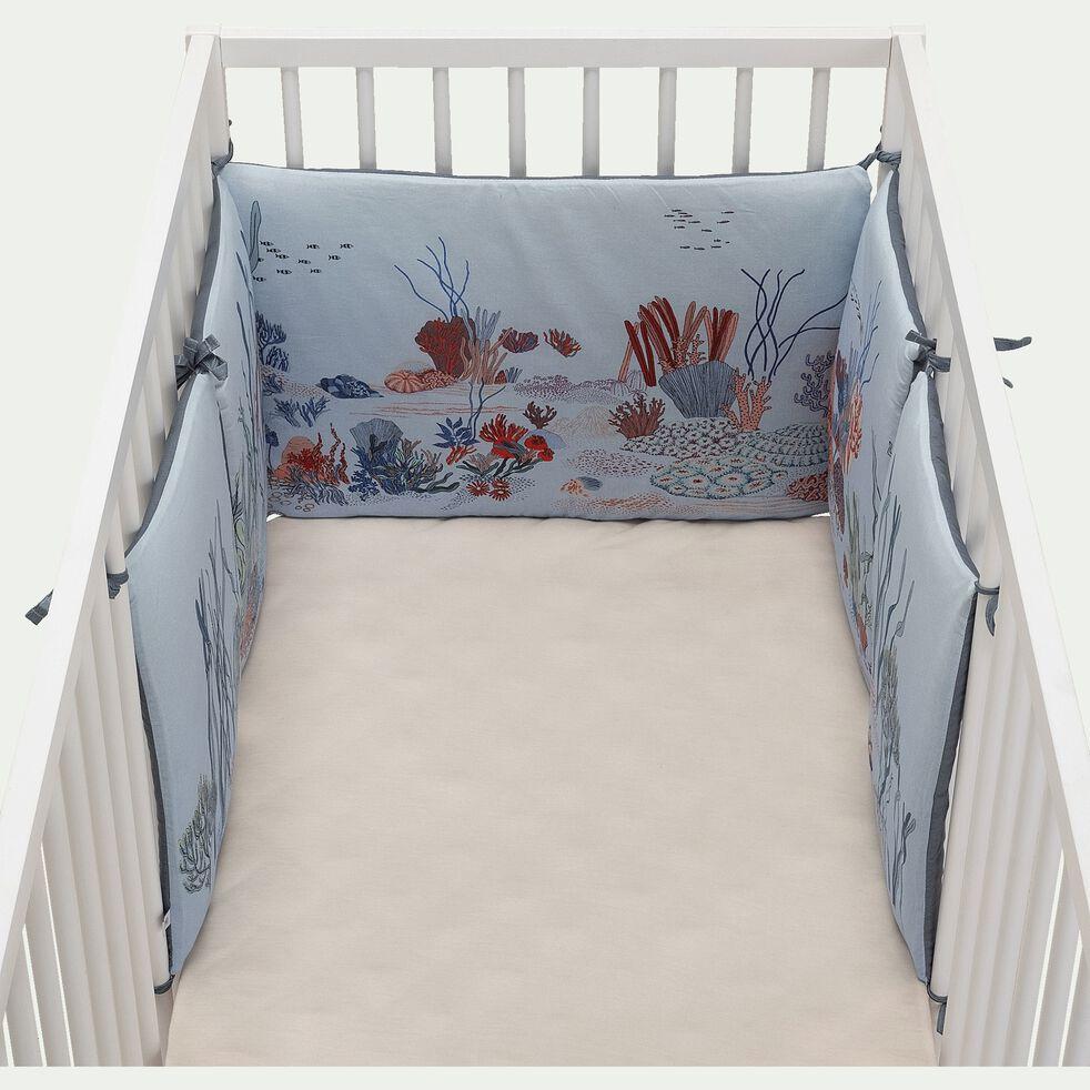 Tour de lit bébé en coton bio avec imprimé - multicolore-Foret ss marine