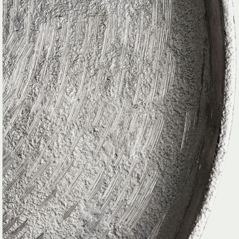 Plateau rond en nickel martelé - argenté D36cm-VEGA