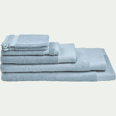 Linge de toilette en coton peigné- bleu calaluna-AZUR