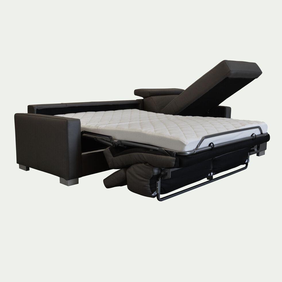 Canapé 4 places convertible en cuir avec angle reversible et accoudoir 15cm - taupe foncé-MAURO