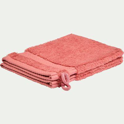 Lot de 2 gants de toilette en coton peigné - rouge ricin-AZUR