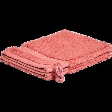 Lot de 2 gants en coton peigné - rouge ricin-AZUR