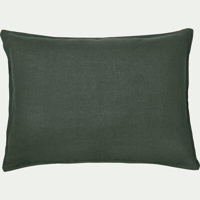 Lot de 2 taies d'oreiller en lin - vert cèdre 50x70cm-VENCE