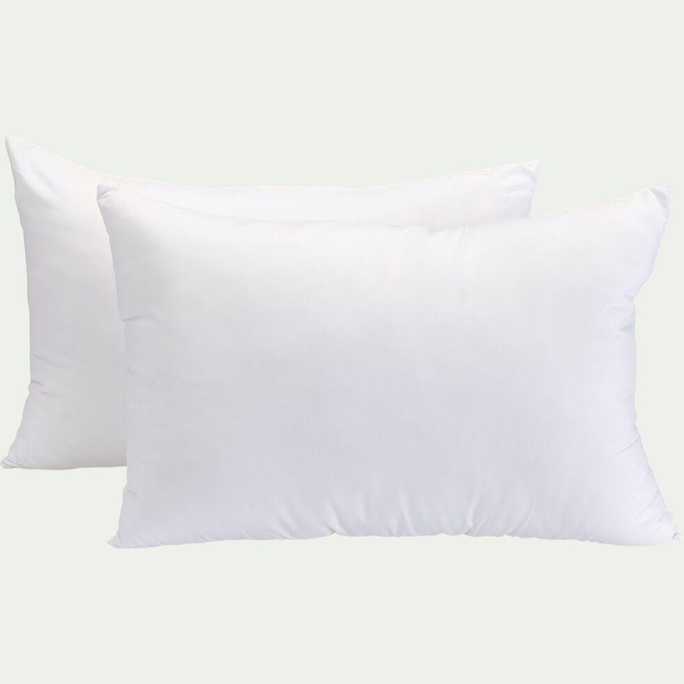 Lot de 2 oreillers fermes en percale de coton thermorégulant - blanc 50x70cm-SOAN