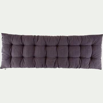 Coussin d'assise de banc matelassé en coton - gris restanque 40x120cm-EMILIE