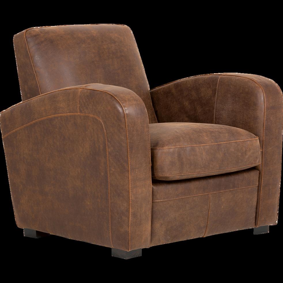 Fauteuil de salon en cro te de cuir cuba fauteuils et poufs alinea - Fauteuil salon ...