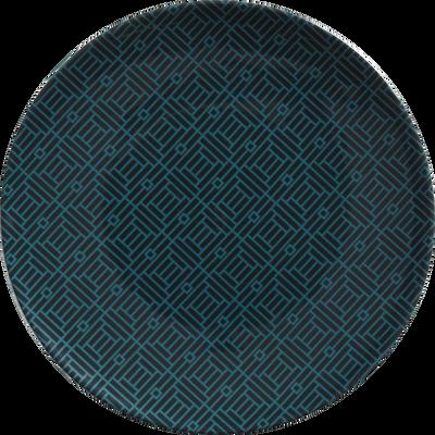 Assiette à dessert en faïence noire à motifs D22cm-MOZAIQUE