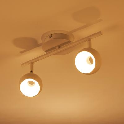 Spot en métal blanc 2 LED intégrées blanc chaud-INOVA