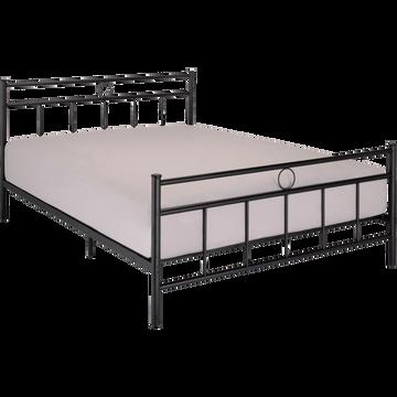 Lit 2 places avec tête de lit en métal noir - 140x190 cm-MARY
