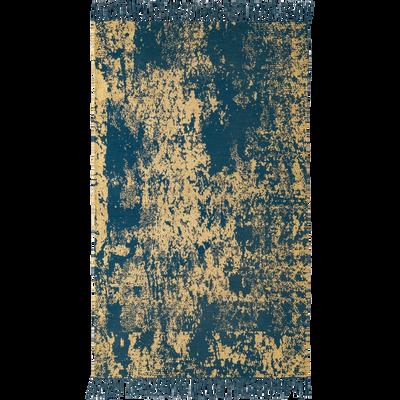 Tapis rectangulaire en coton bleu et doré 100x150 cm-SONORA