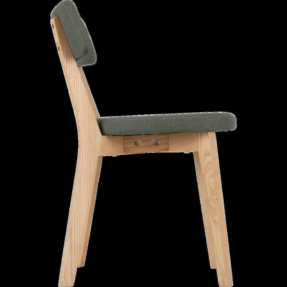 Chaise En Tissu Vert Cedre Avec Structure Bois Clair AMEDEE