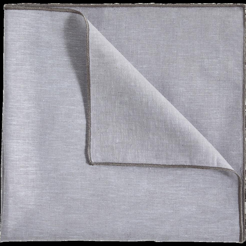 Lot de 2 serviettes de table en lin et coton gris borie 41x41cm-NOLA
